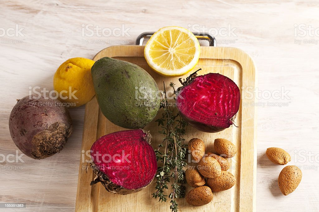 raw ingredients for healthy meal on a cutting board royalty-free stock photo