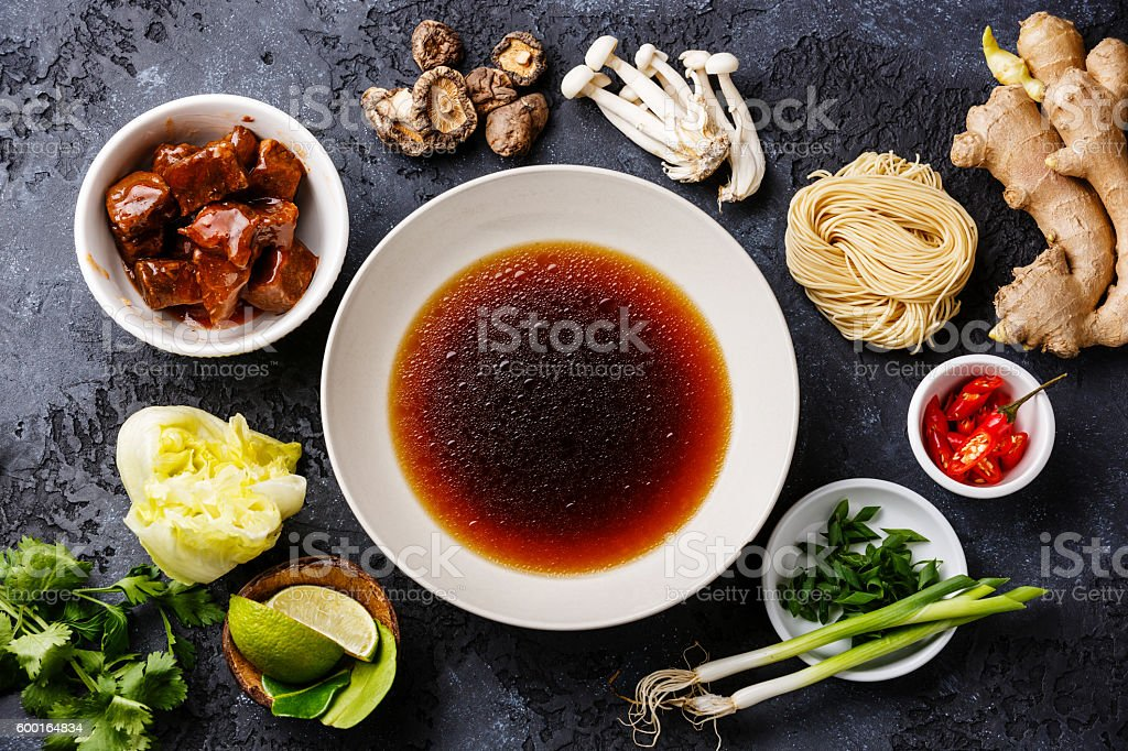 Raw ingredients for Ramen noodles with Beef stock photo