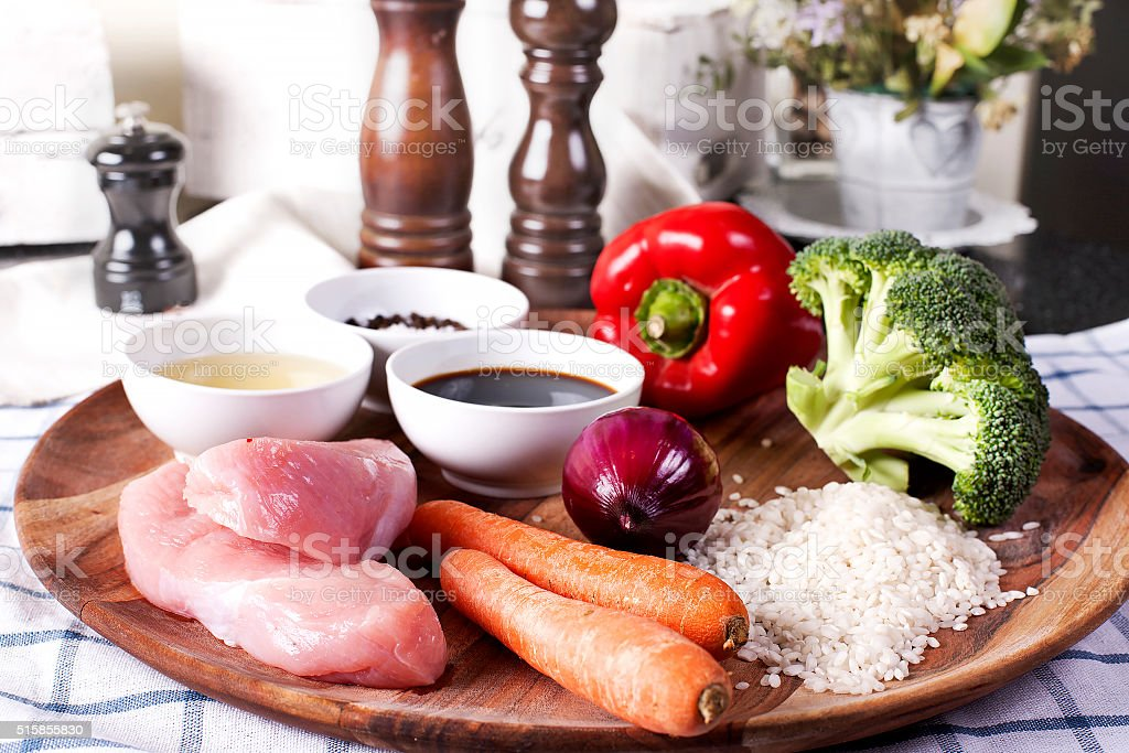 Raw ingredients for Teriyaki Chicken with Rice stock photo