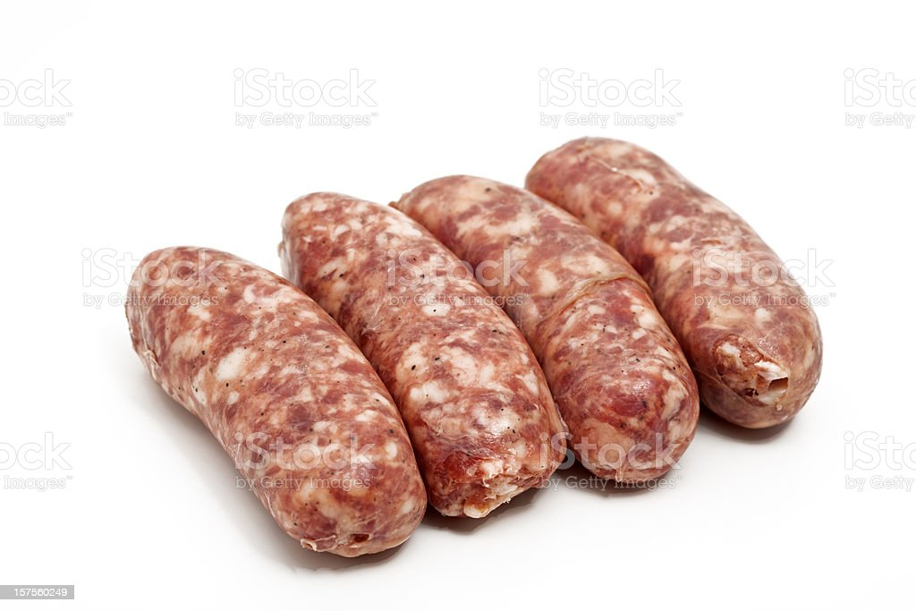 raw italian sausages stock photo