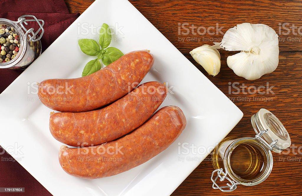 Raw italian sausages royalty-free stock photo