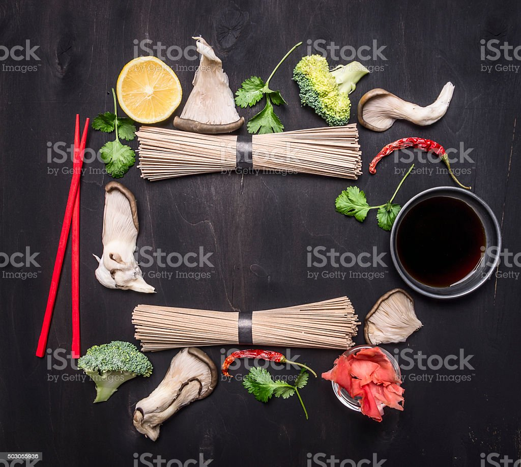 raw Japanese buckwheat noodles ginger, oyster mushrooms,  , place for text stock photo
