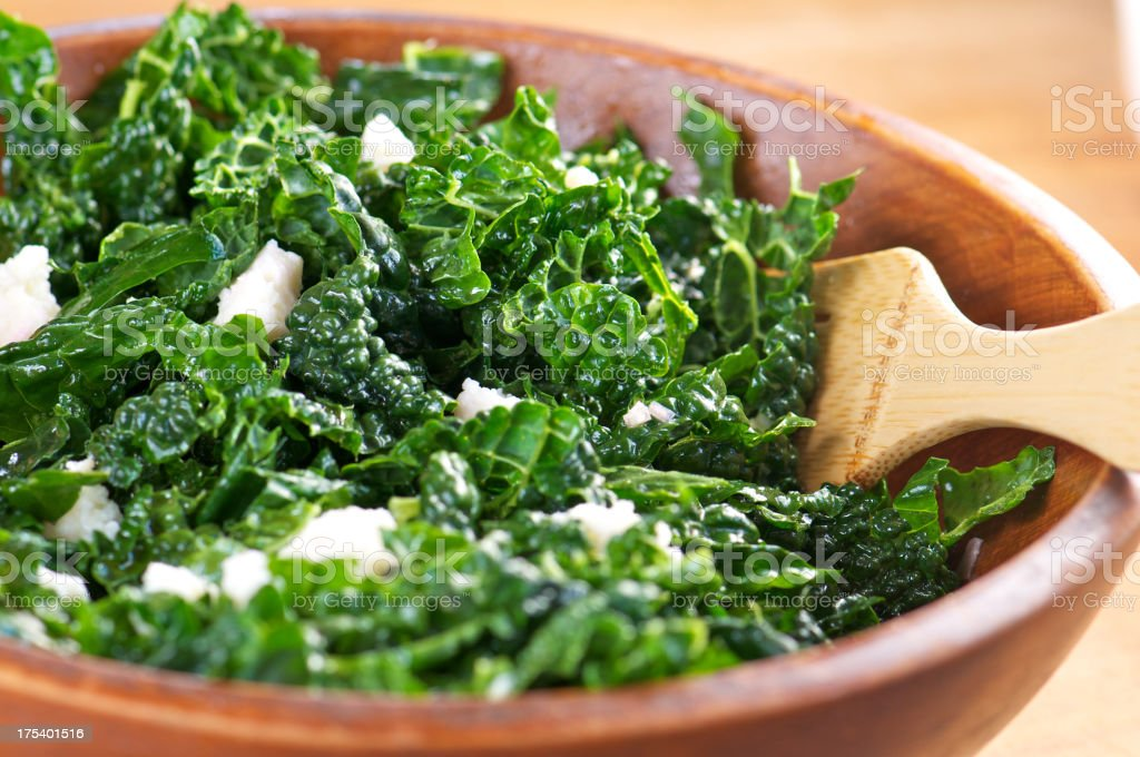 Raw Kale Salad with Goat Cheese royalty-free stock photo
