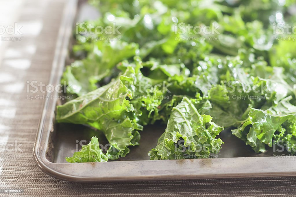Raw Kale Tossed with Dressing on a Baking Pan stock photo