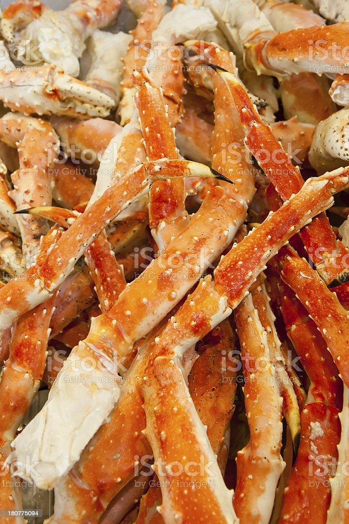 Raw king crab lags stock photo