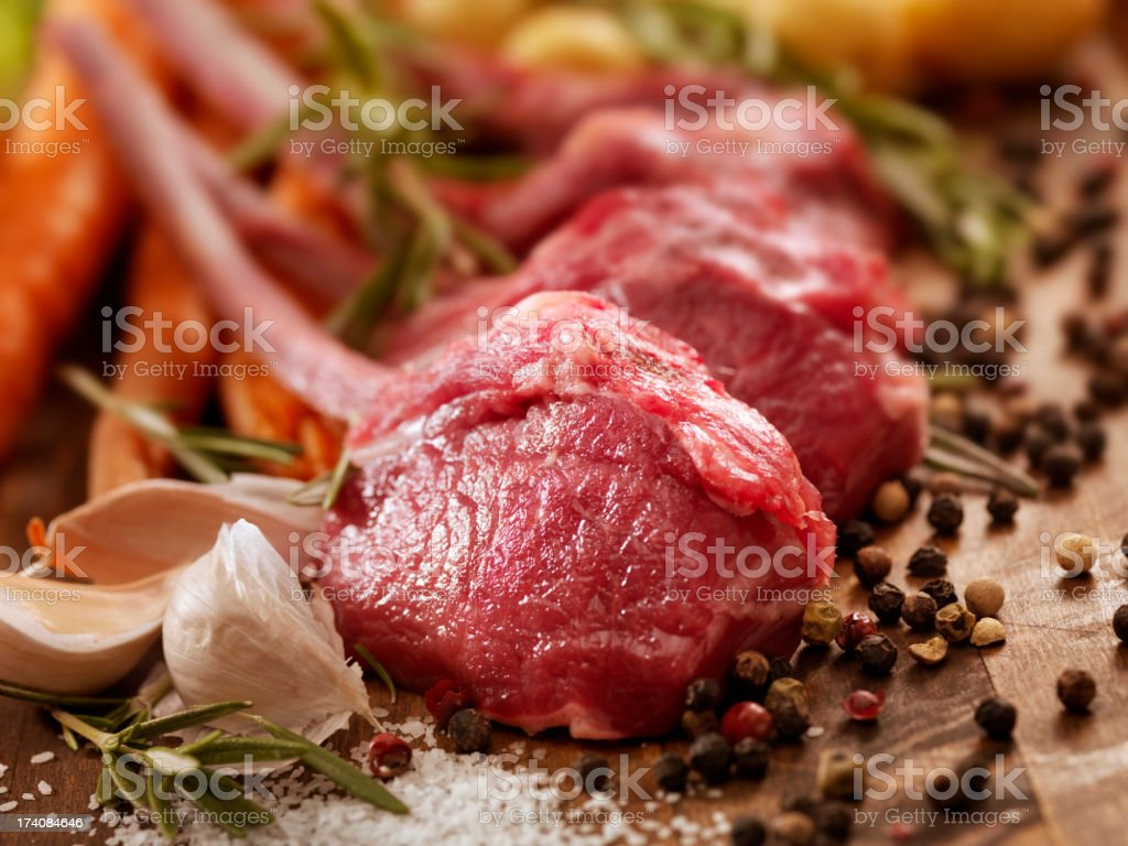 Raw Lamb Chops royalty-free stock photo