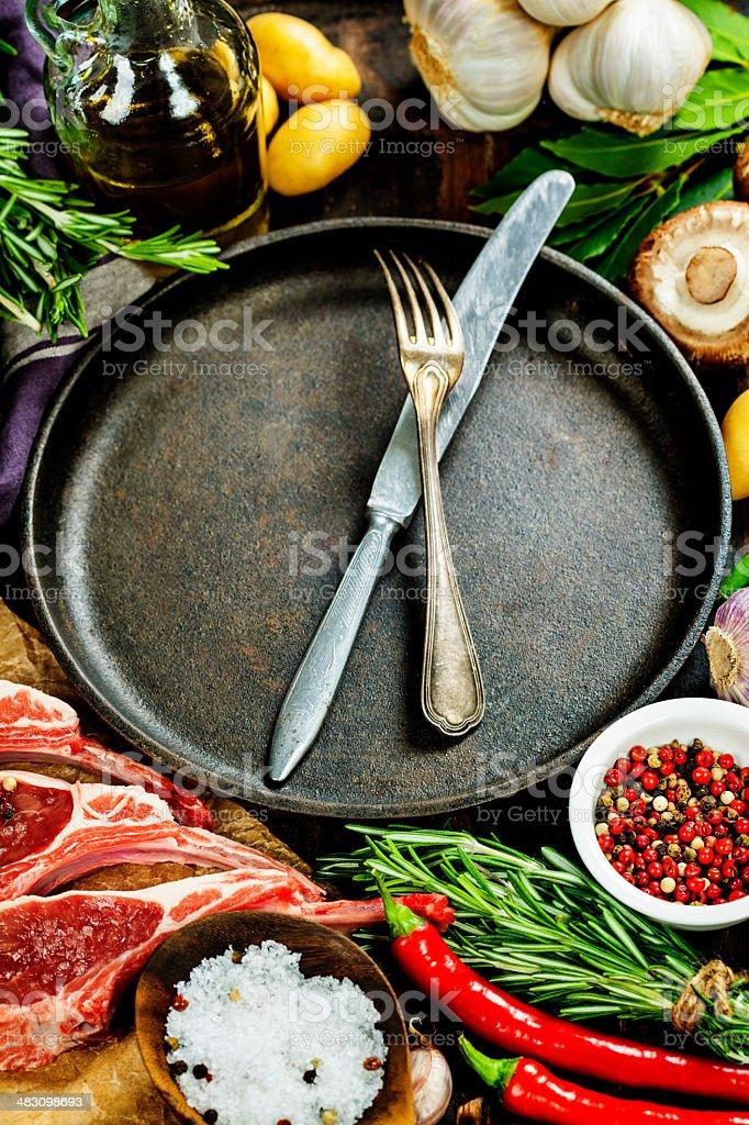 Raw lamb cutlets royalty-free stock photo
