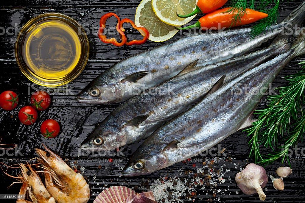 Raw mackerel stock photo