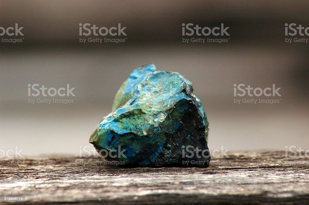 Raw malachite & azurite gemstone stock photo