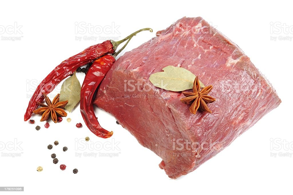 Raw meat and spice royalty-free stock photo