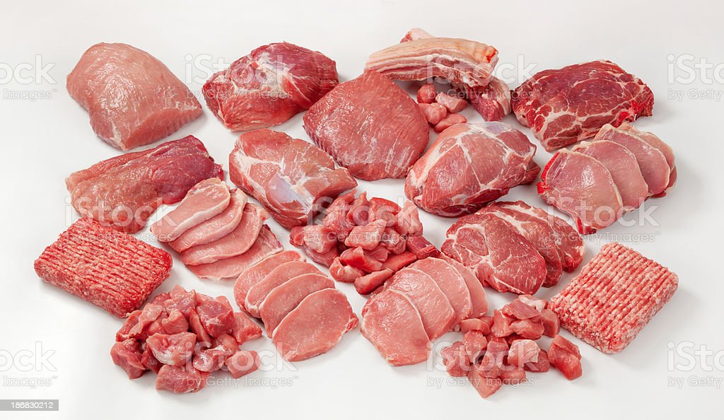 Raw meat assortment stock photo