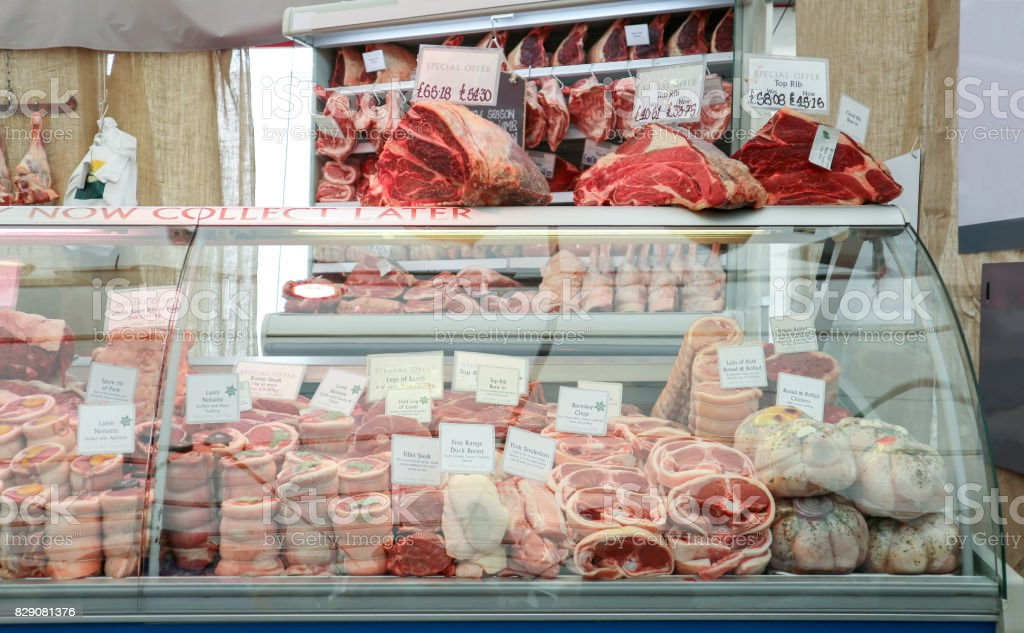 Raw meat at Butcher shop. stock photo