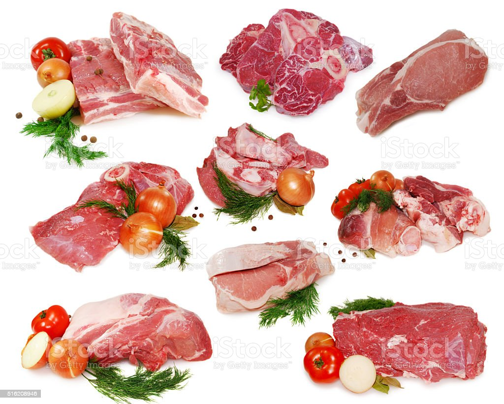 Raw meat. Collection of different pork and beef slices isolated stock photo