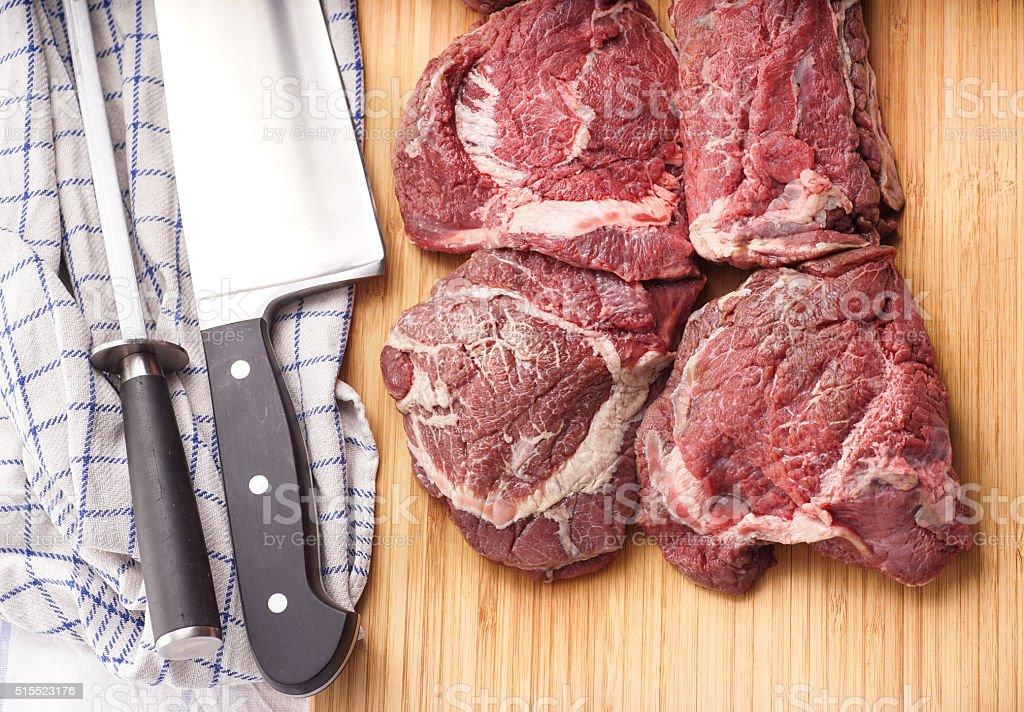 raw meat, delicious veal, Beef Cheeks stock photo