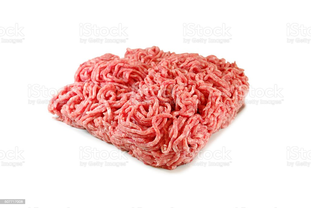 Raw meat. Fresh Minced Pork in a Plate Isolated on stock photo