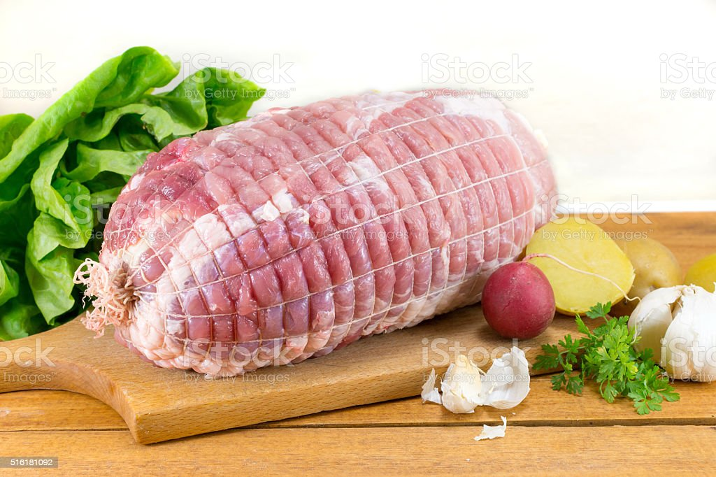 raw meat in a net stock photo