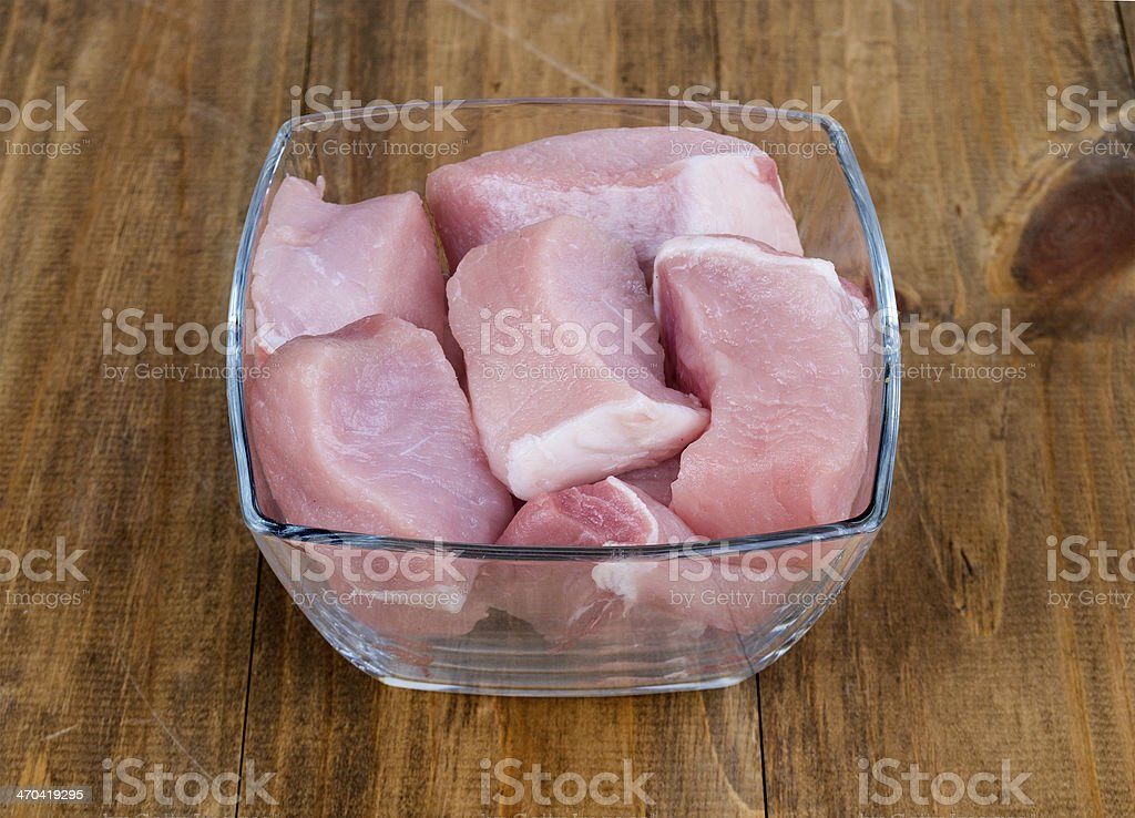 Raw meat in plate on wood background stock photo