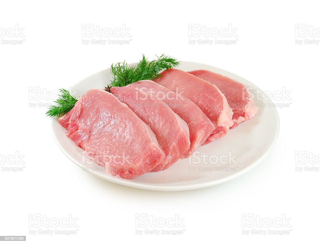 Raw Meat. Pork Steaks With Dill on a Dish Isolated stock photo