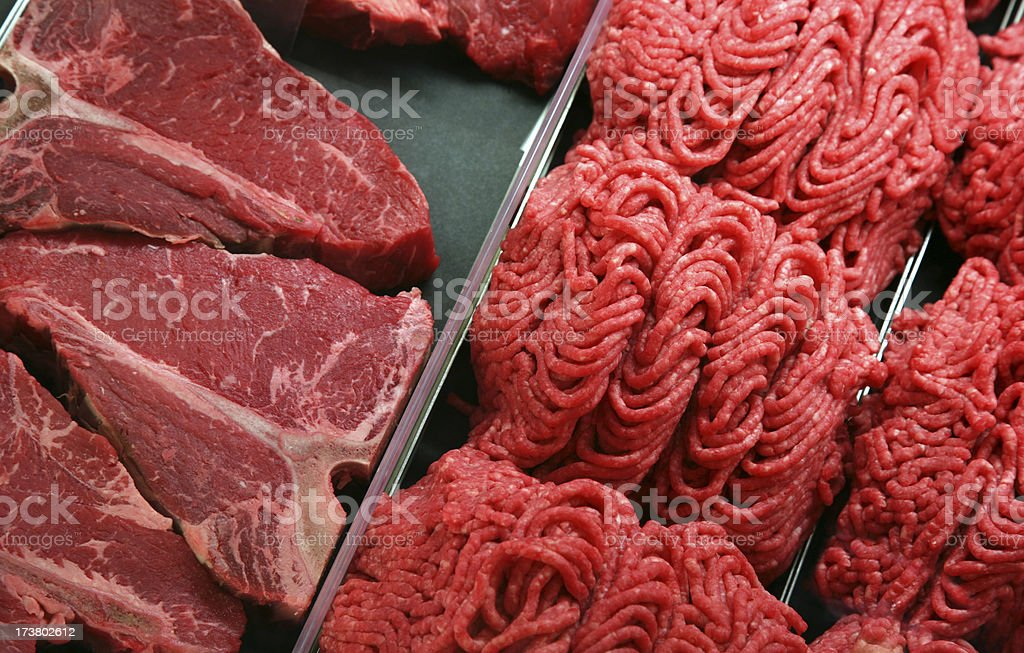 Raw Meat - Steak and Ground Beef royalty-free stock photo