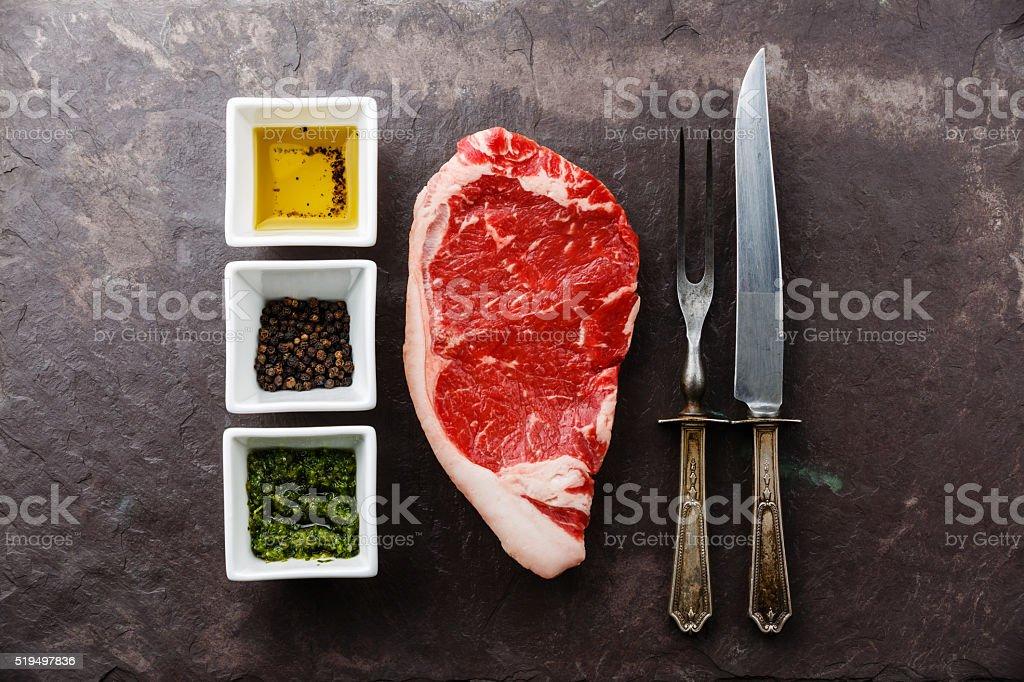 Raw meat Steak and seasoning stock photo