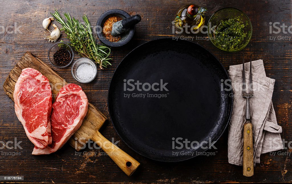 Raw meat Steak with ingredients around pan stock photo