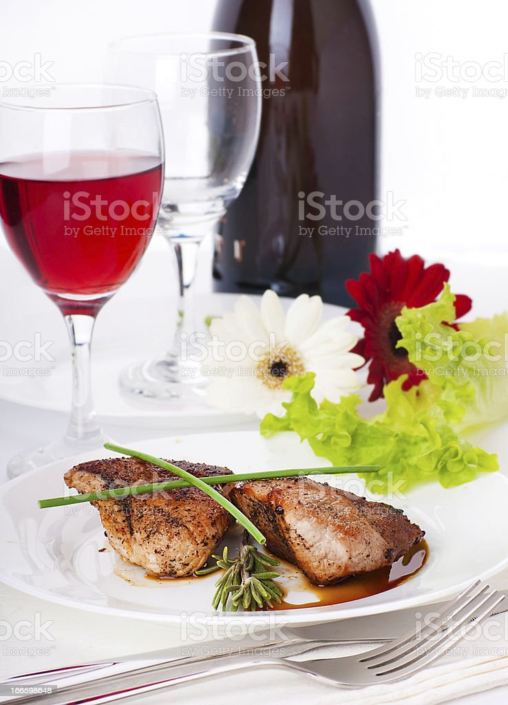 Raw meat, wine and spices royalty-free stock photo