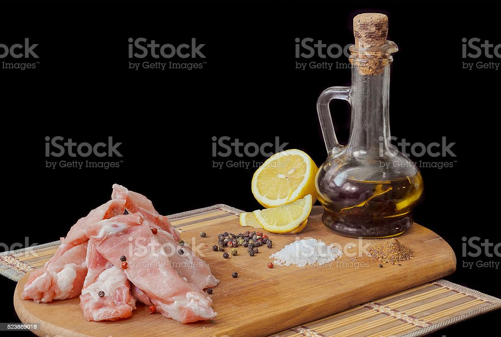 raw meat with spices and olive oil stock photo