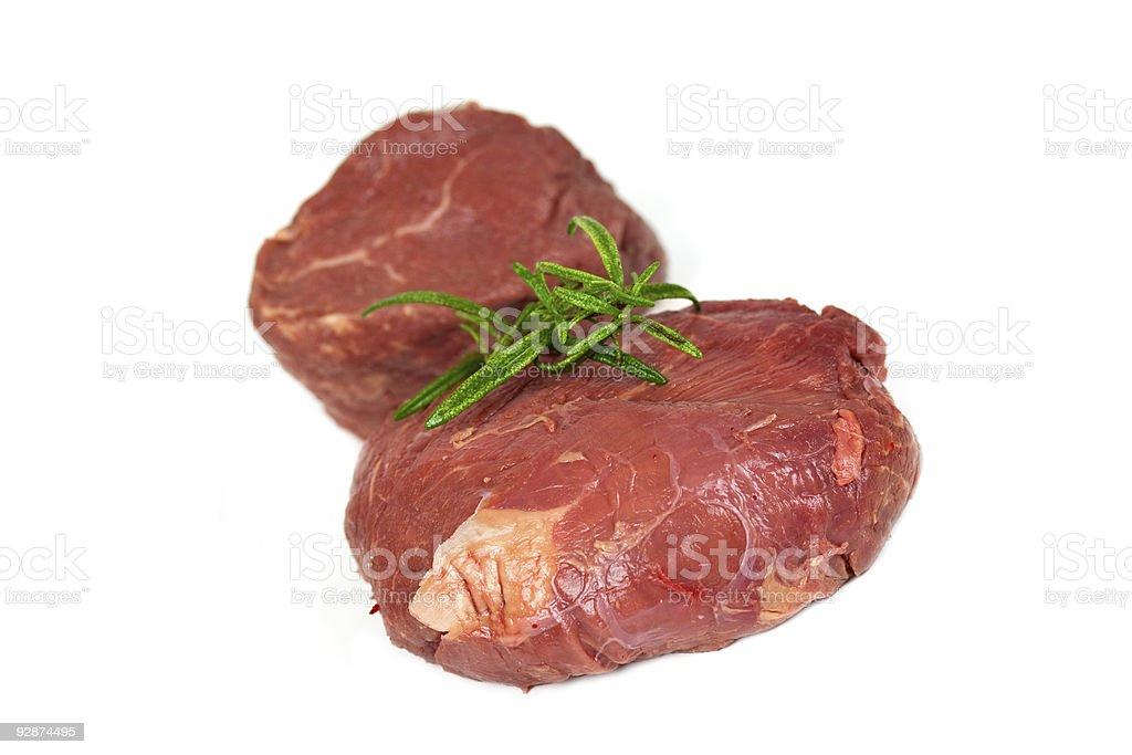 Raw mignon steak,isolated on white royalty-free stock photo