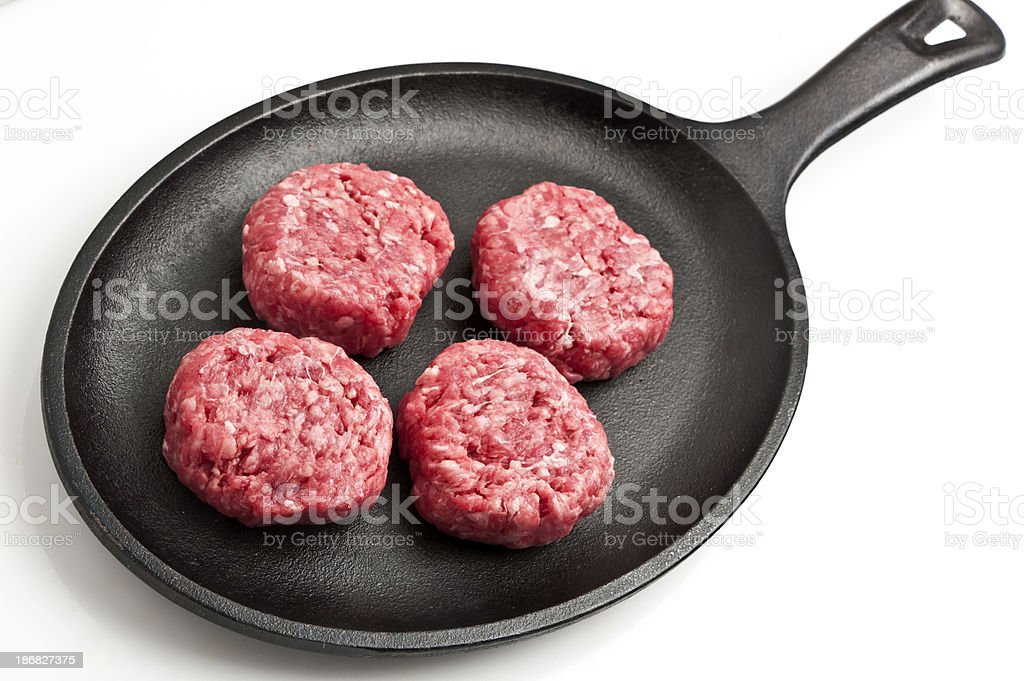 Raw mini burgers stock photo