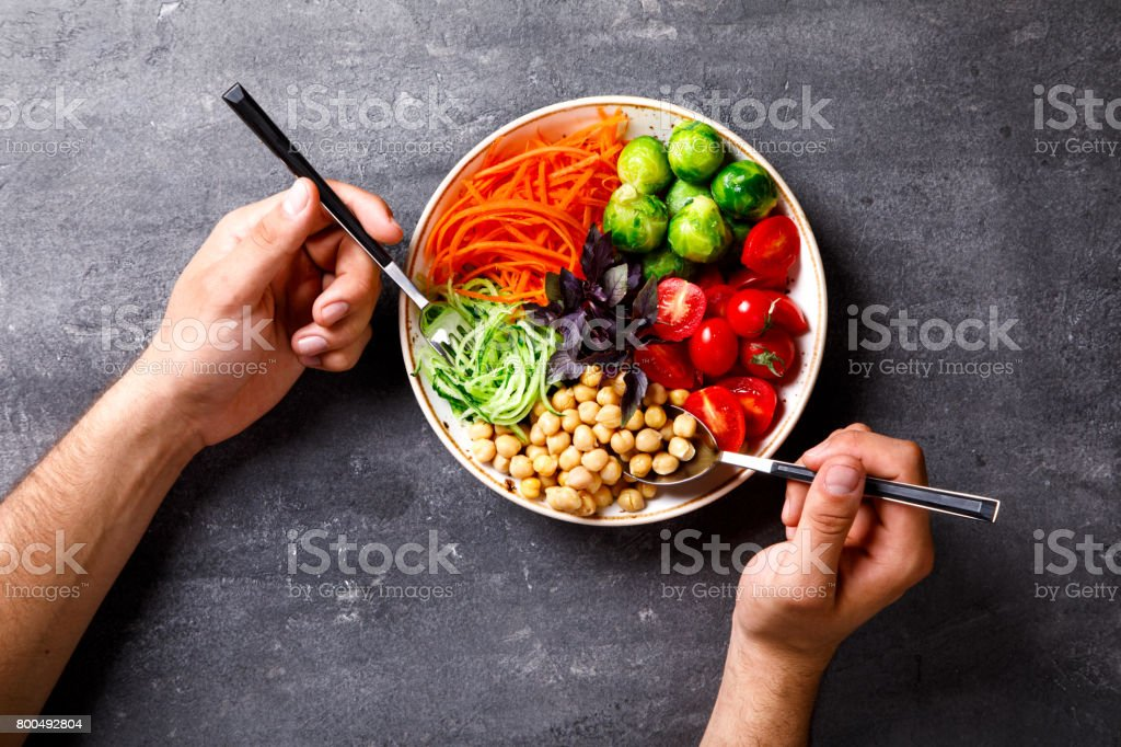 Raw mixed Vegetables and chickpeas.Vegetarian Buddha Bowl stock photo