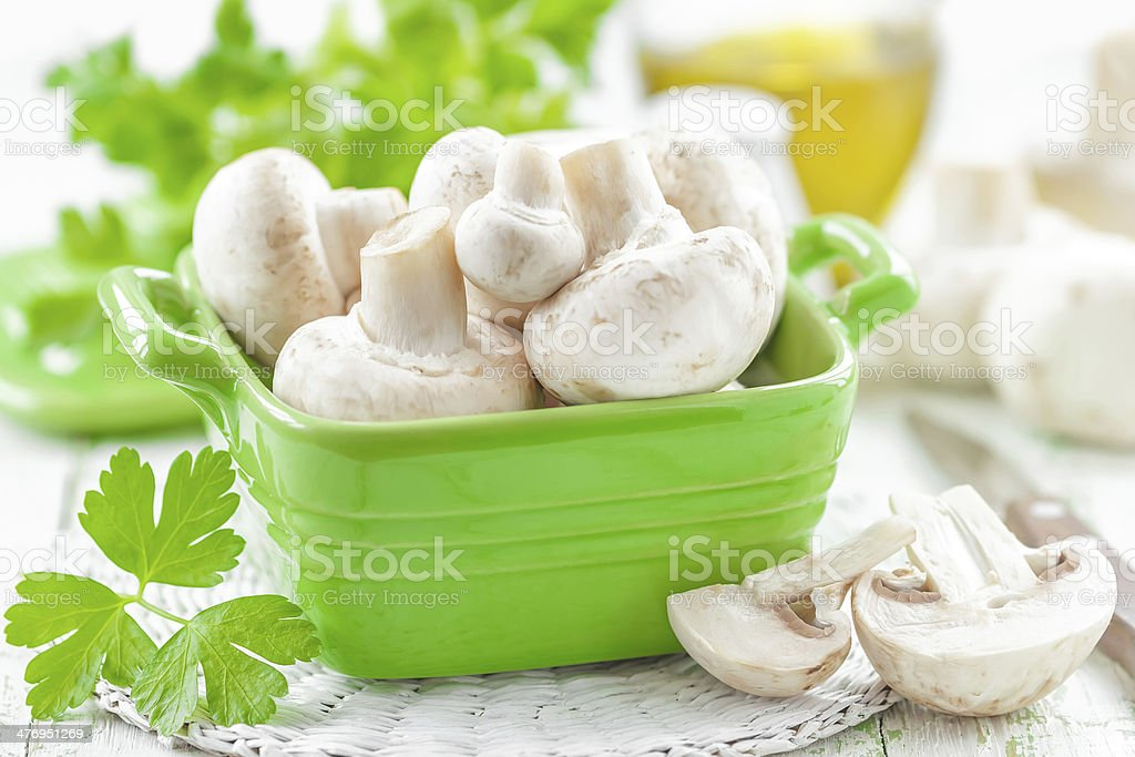 Raw mushrooms stock photo