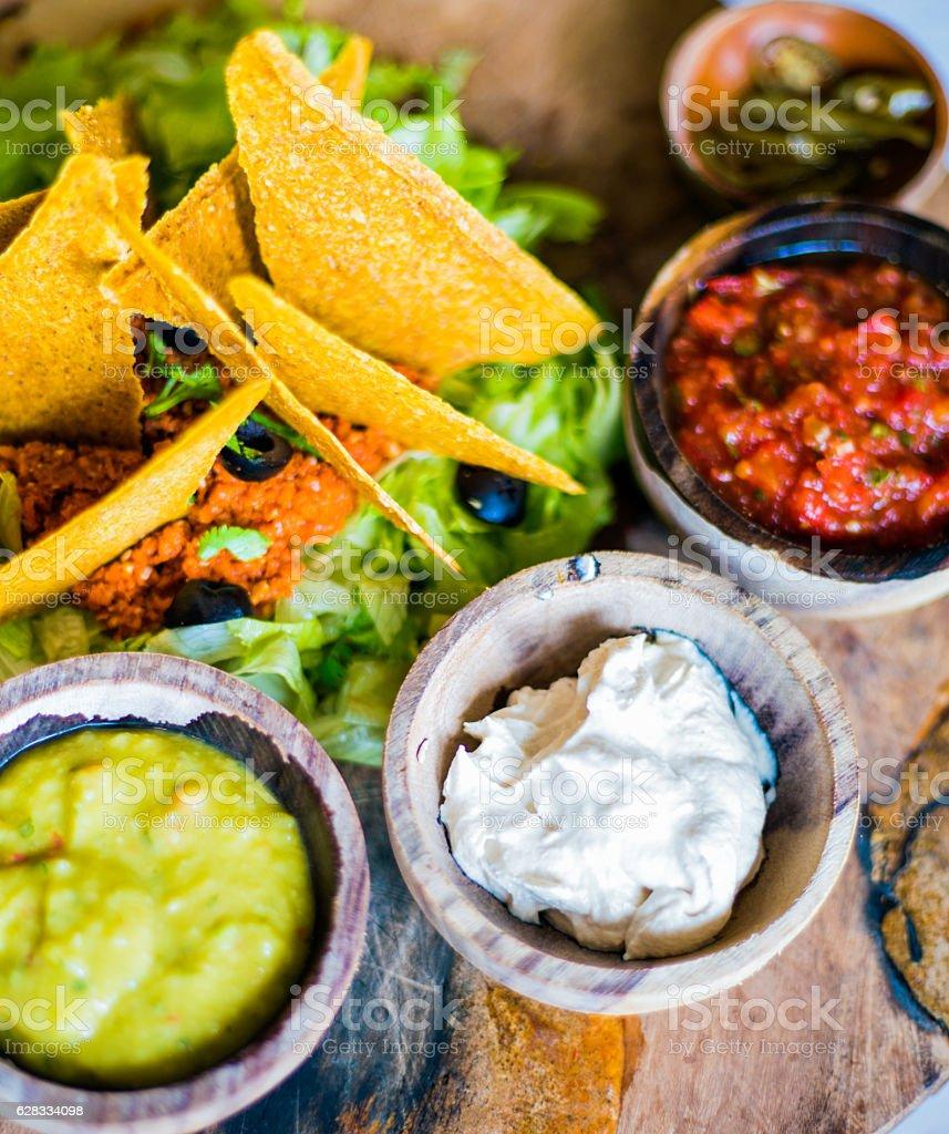 Raw nacho plate stock photo