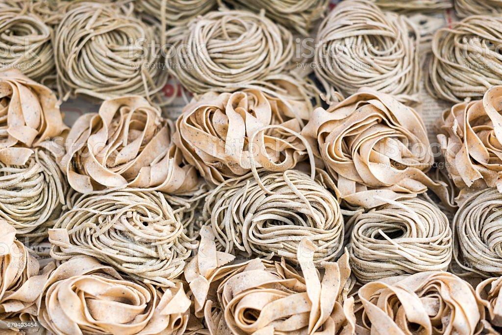 Raw Nest Pasta stock photo