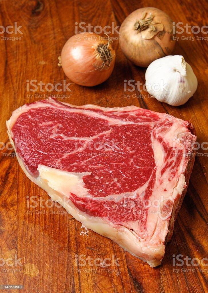 Raw New York Strip Steak stock photo