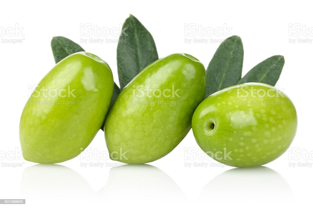 Raw olive and leaves stock photo