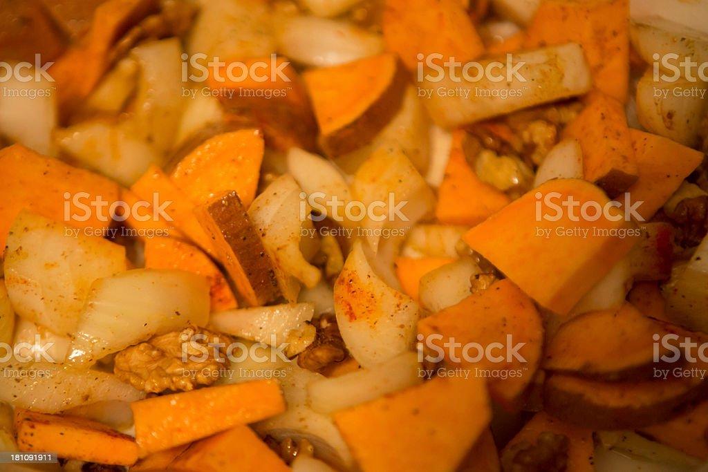 raw onions and sweet potato stock photo