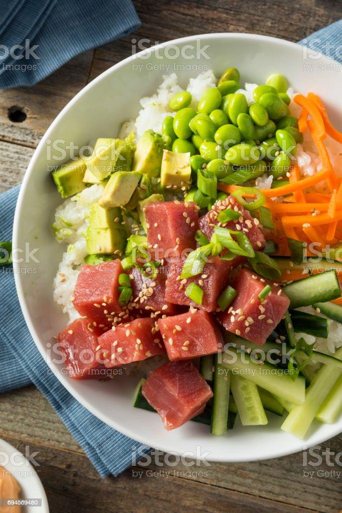 Raw Organic Ahi Tuna Poke Bowl stock photo