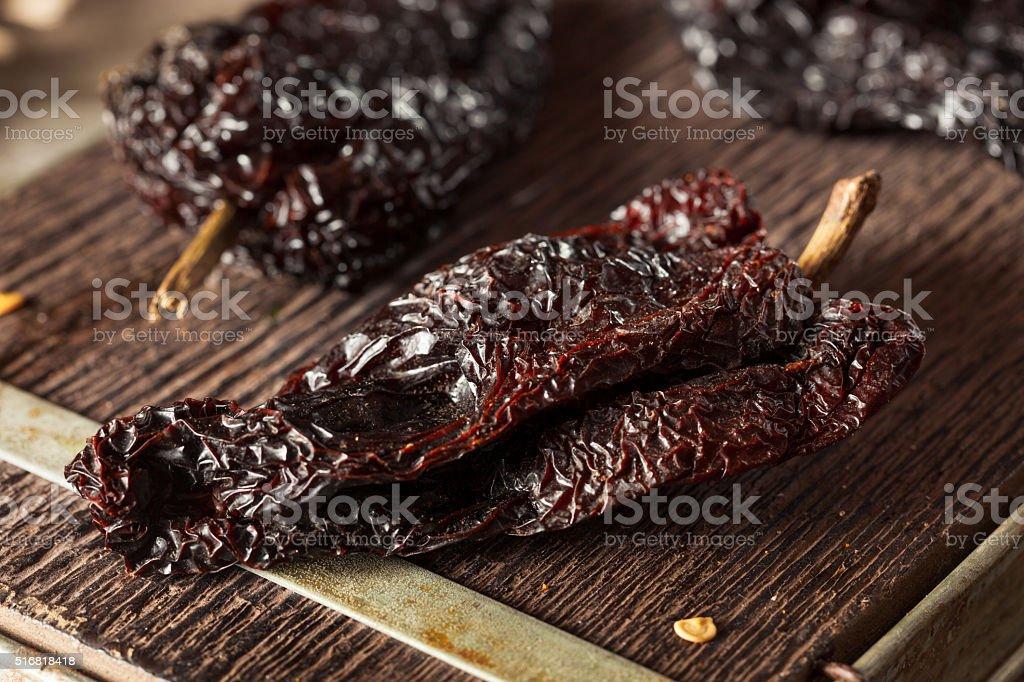 Raw Organic Dry Ancho Chili stock photo