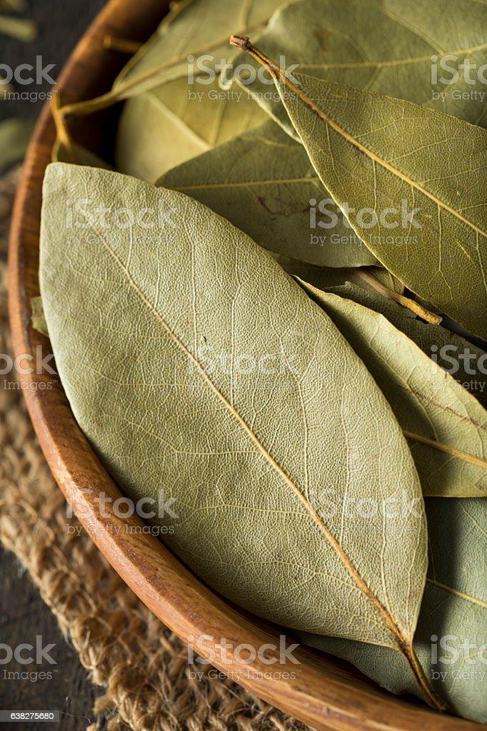 Raw Organic Dry Bay Leaves stock photo