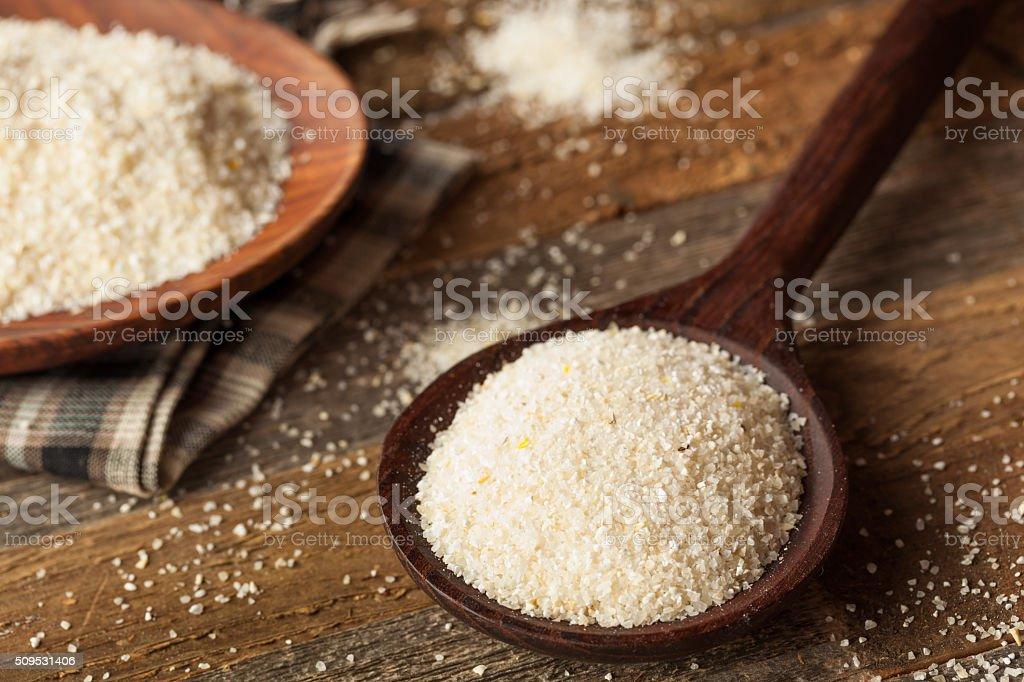 Raw Organic Dry Grits stock photo