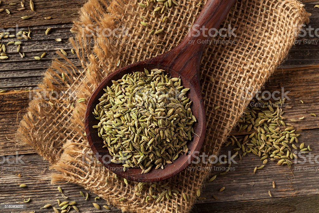 raw organic fennel Seed stock photo