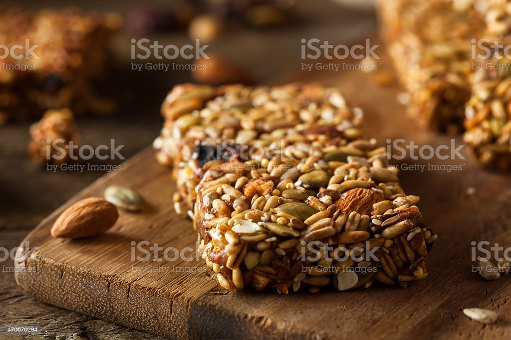 Raw Organic Granola Bars stock photo