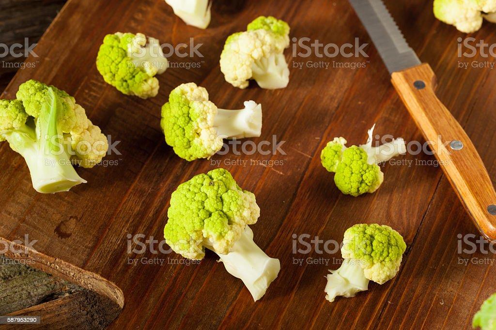 Raw Organic Green Broccoli Cauliflower stock photo