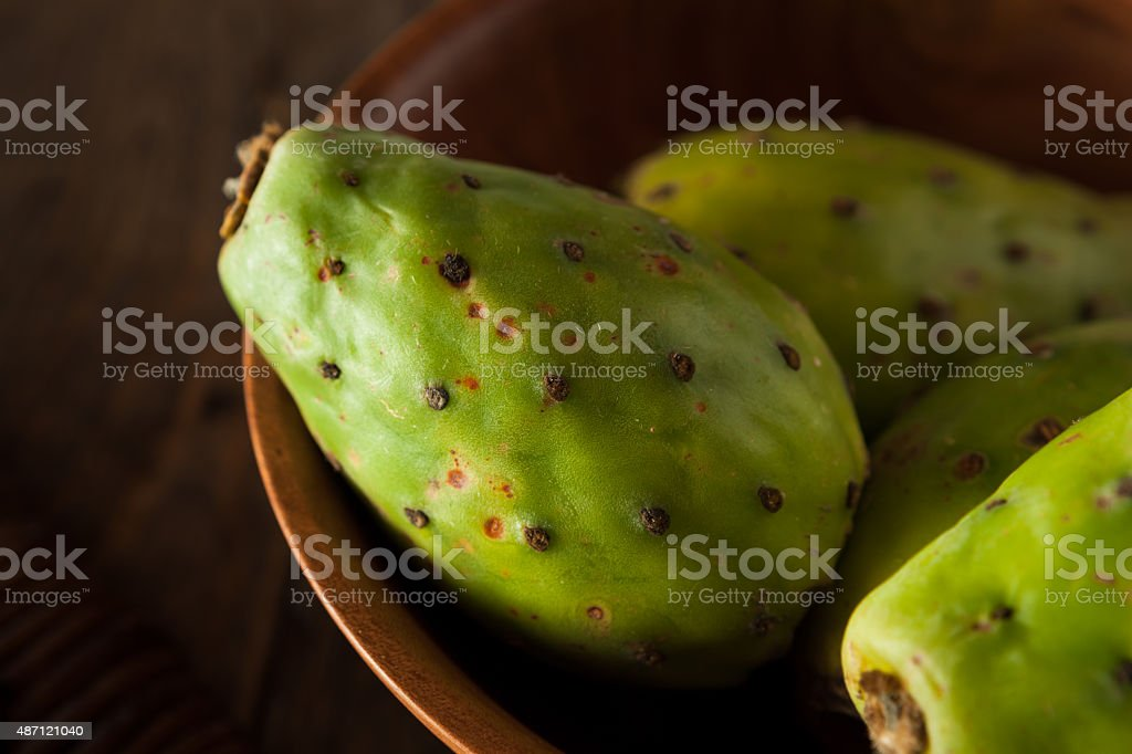 Raw Organic Green Cactus Pears stock photo