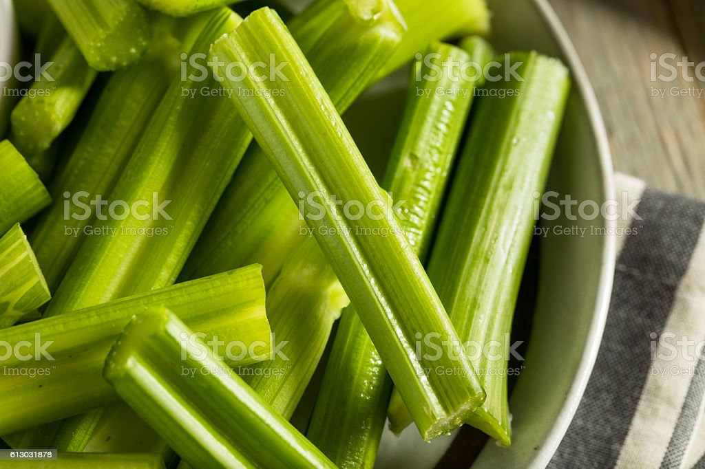 Raw Organic Green Celery Stalks stock photo