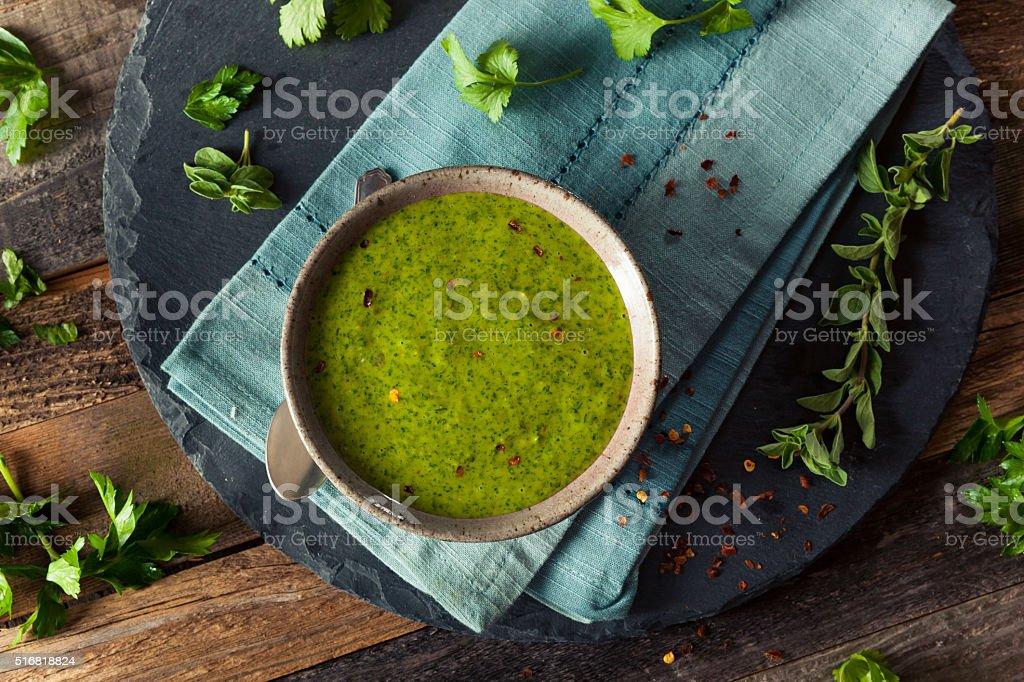 Raw Organic Green Chimichurri Sauce stock photo