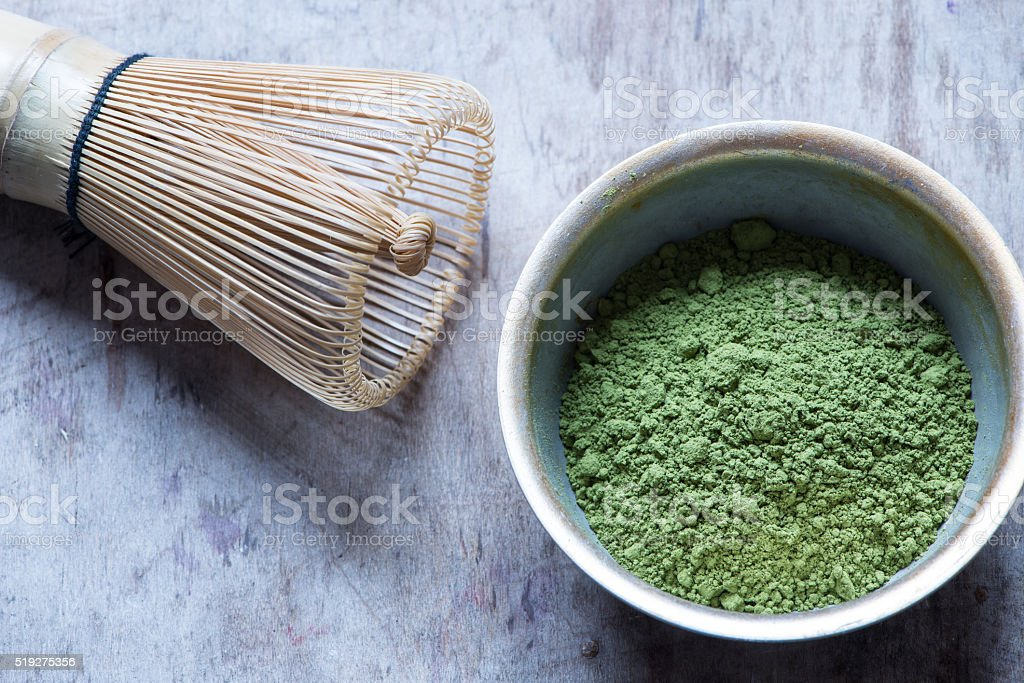 Raw Organic Green Matcha Tea in a Bowl stock photo