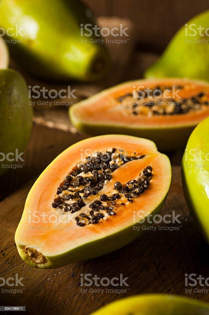 Raw Organic Green Papaya stock photo