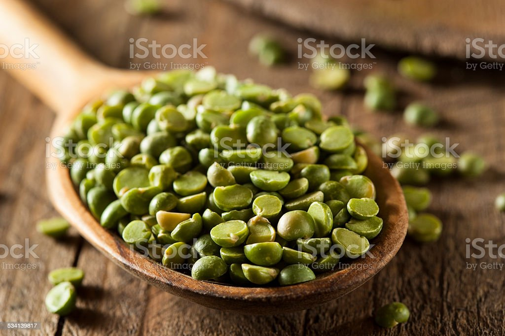 Raw Organic Green Split Peas stock photo