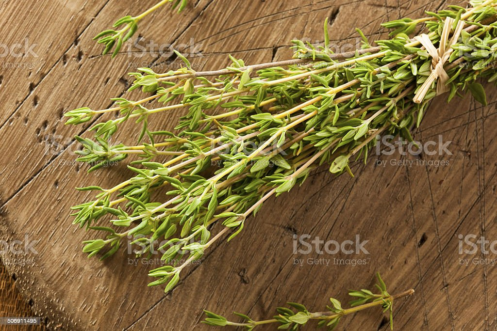 Raw Organic Green Thyme stock photo